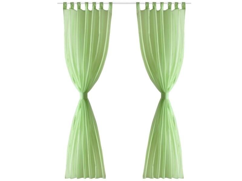 Lot de 2 rideaux transparent pomme vert 140 x 225 cm décoration fenêtres helloshop26 4002001
