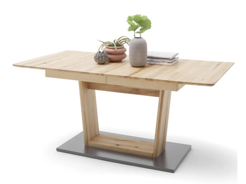 Table à manger extensible en hêtre massif huilé / gris - l.140-185 x h.77 x p.90 cm -pegane- PEGANE