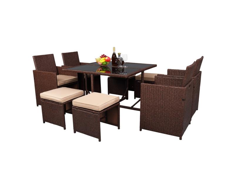 Salon de jardin pouf de salle à manger en rotin en osier pe à grain de bois de 9 pièces avec ensemble de meubles de patio en verre trempé Talkeach