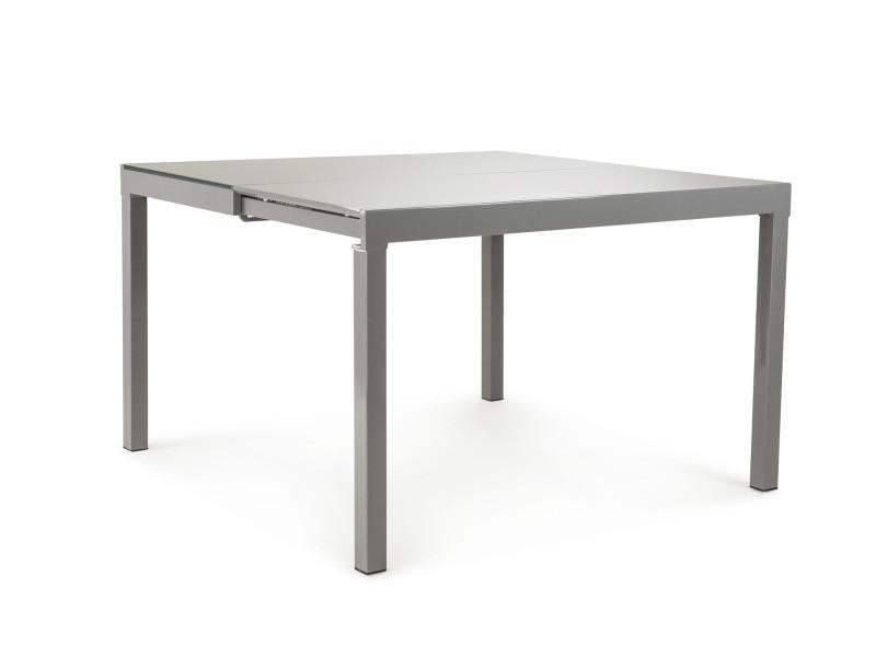 Gabrielle console extensible en table carrée avec plateau verre trempé gris