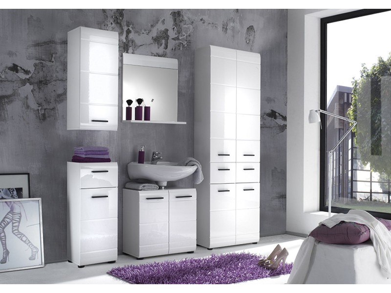 Skin placard murale de salle de bain blanc ultrabrillant lxhxp 30x77x23 cm - Placard salle de bains ...