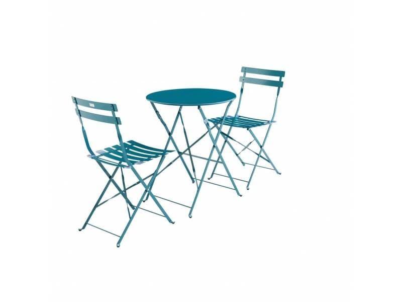 Salon de jardin bistrot pliable emilia rond bleu canard ...