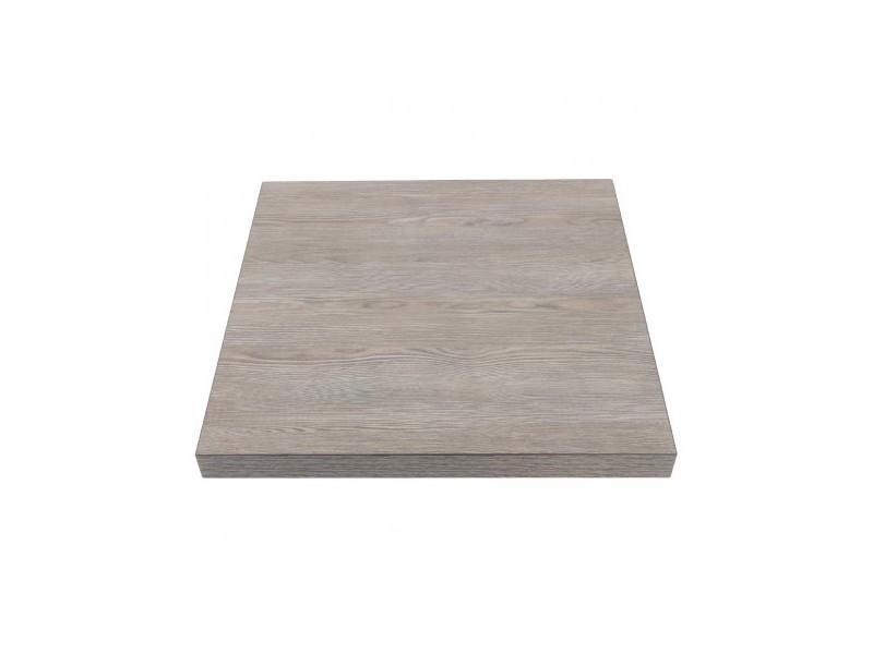 Plateau de table carré 700 mm effet bois gris - bolero