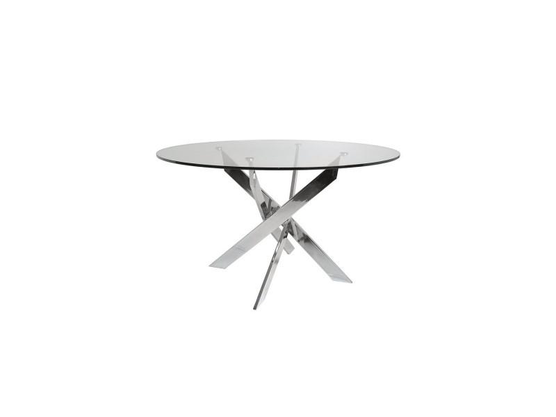 Table de repas ronde 120 cm - faxou - l 120 x l 120 x h 76 - neuf