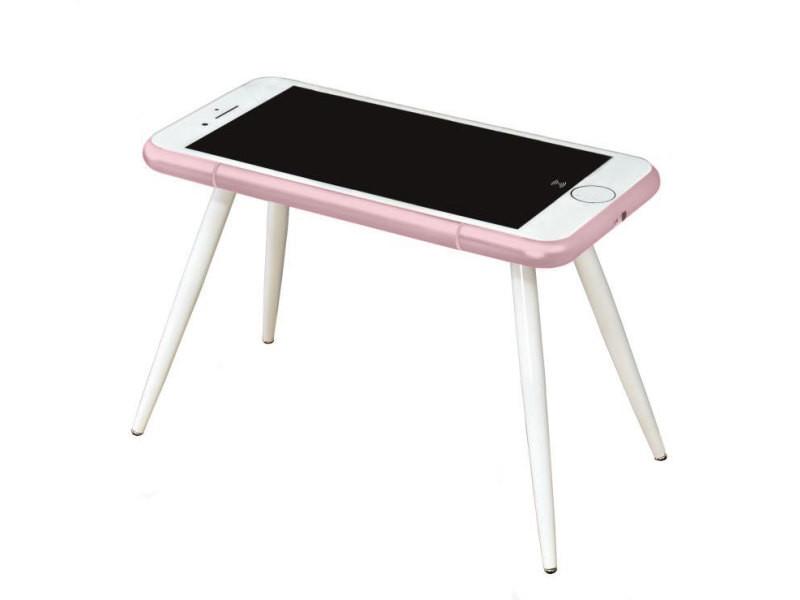 Bureau connecté smartphone or rose i desk conforama