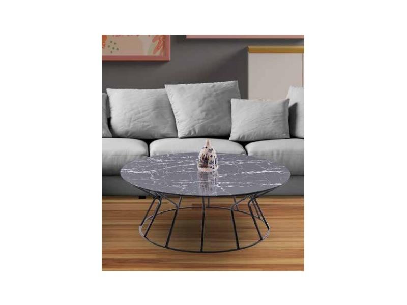Table basse dbk noir verre marbre gris TABLE BASSE DBK noir verre marbre gris