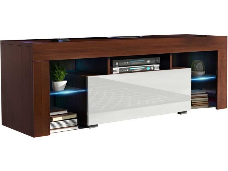 Meuble tv 130 cm noyer et blanc led rgb