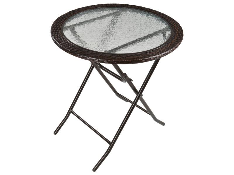 Table ronde bistro de jardin pliable dim. Ø 68 x 73h cm métal époxy résine tressée chocolat plateau verre trempé