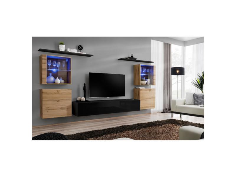 Ensemble mural - switch xiv - 4 vitrines - 1 banc tv - 2 étagères - bois et noir - modèle 1