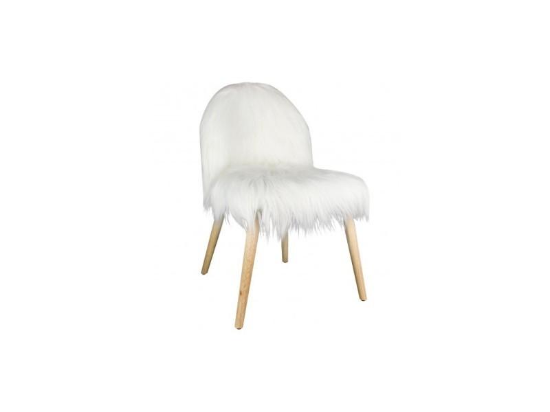 Chaise fausse fourrure blanche hygge vente de la chaise longue