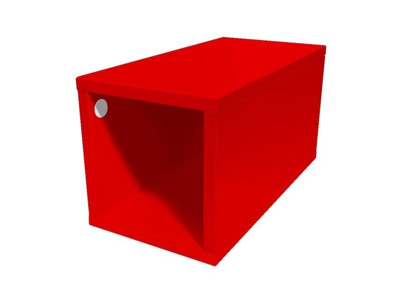 Cube de rangement bois 25x50 cm 25x50 rouge CUBE25-Red
