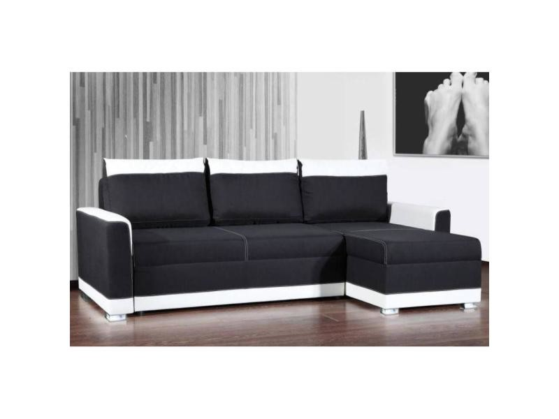 canap d 39 angle gigogne convertible rapido carlow noir et blanc avec pi tement led couchage 140. Black Bedroom Furniture Sets. Home Design Ideas