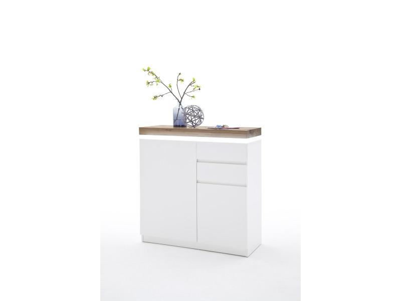 Meuble à chaussures avec led en laqué blanc brillant avec décor béton - l91 x h97 x p38 cm -pegane-