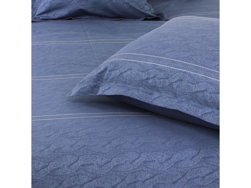 housse de couette 300x240 cm satin de coton vendome bleu fonc vente de linnea conforama. Black Bedroom Furniture Sets. Home Design Ideas