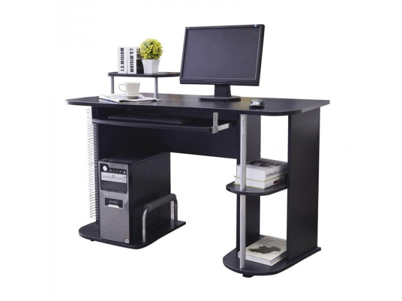 Bureau informatique avec étagères et tablette coulissante noir