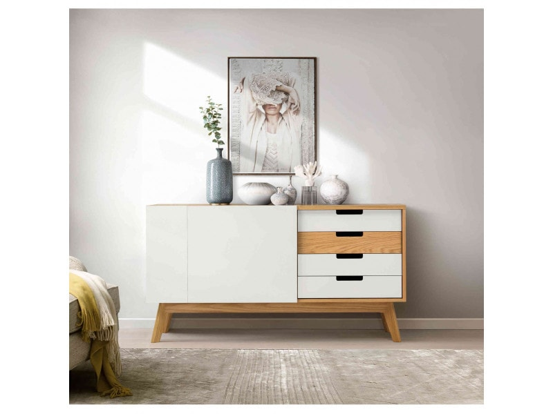 Commode 2 portes 4 tiroirs en bois massif blanc - co0033