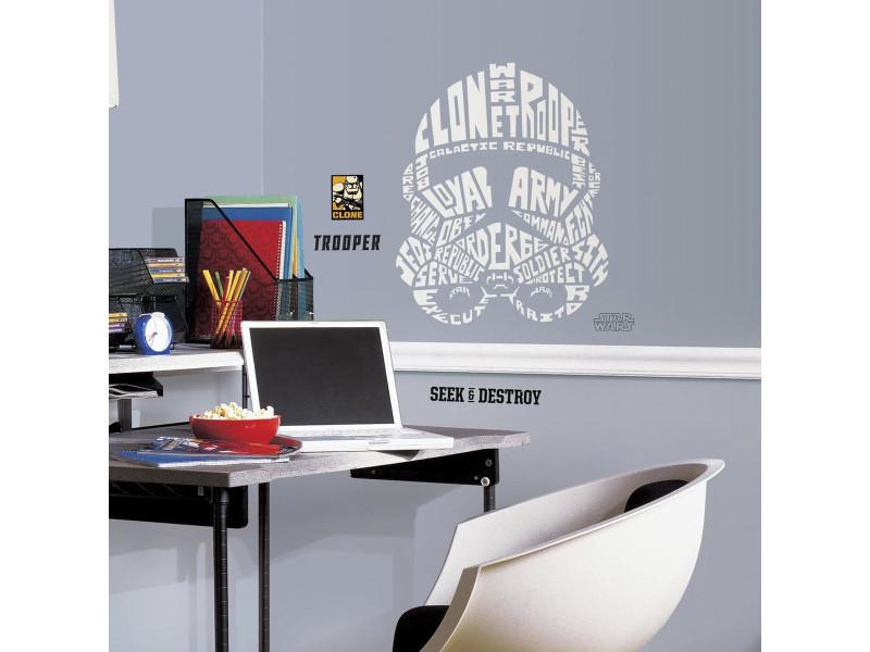 Stickers géant stormtrooper typographique star wars