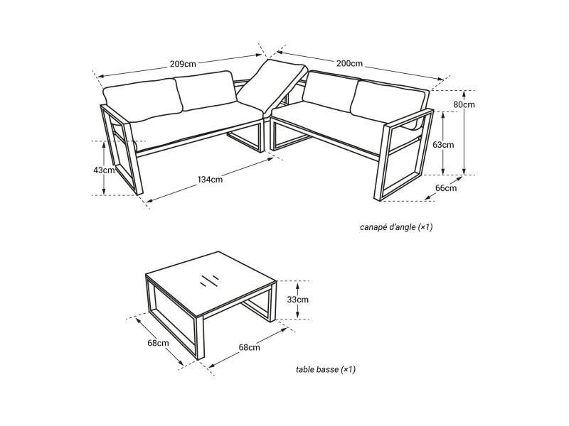 Salon de jardin modulable ibiza en tissu gris 4 places ...