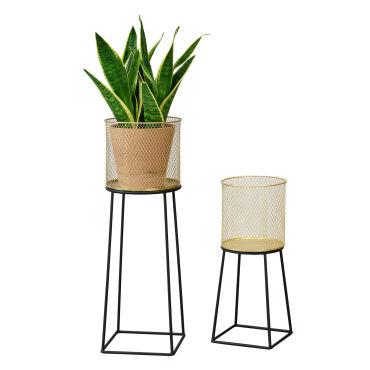 en.casa Lot de 2 Supports de Plante Set Cache-Pot Pot de Fleur Bac /à Fleurs Vase M/étal Tailles Diff/érentes Noir Dor/é