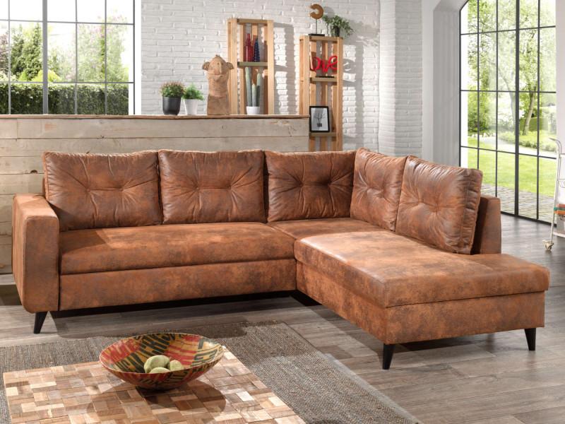 Nordic - canapé d'angle l - 5 places - convertible - industriel vintage - droit couleur - marron