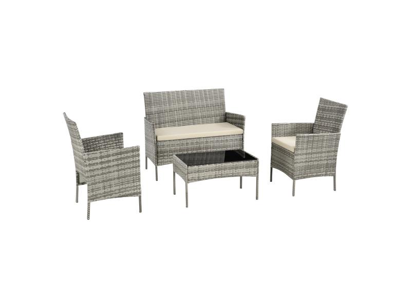 Salon de jardin design table basse plateau en verre canapé fauteuils set de 4 meubles extérieurs pour 4 personnes coussins à housse amovible polyester acier polyrotin gris chiné crème [en.casa]