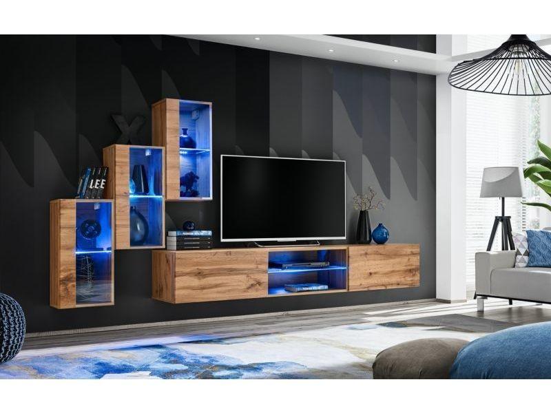Ensemble meuble tv mural switch xxii - l 240 x p 40 x h 170 cm - marron