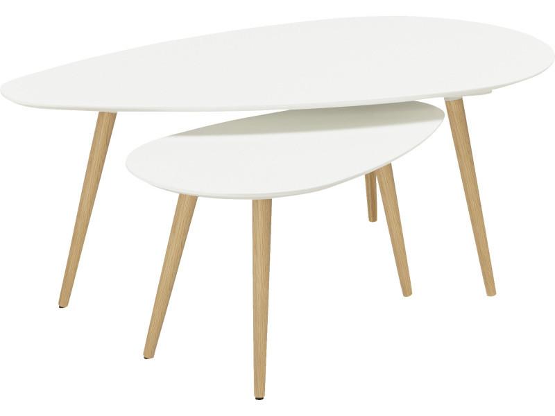 Set de 2 tables basses scandinave ovale blanche -pegane-