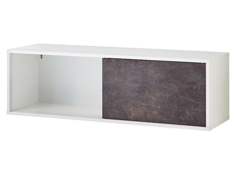 Etagère à portes coulissantes bicolore en bois l120 cm slide