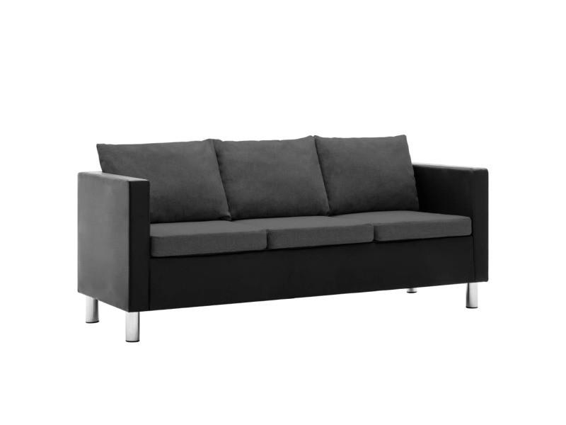 Esthetique meubles ligne brasilia canapé à 3 places simili-cuir noir et gris foncé