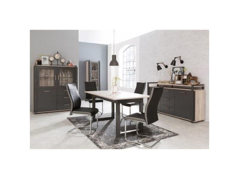Table a manger seule brooklyn table manger extensible de 6 a 10 personnes style industriel décor chene et gris anthracite - l 160 / 200 x l 90 cm