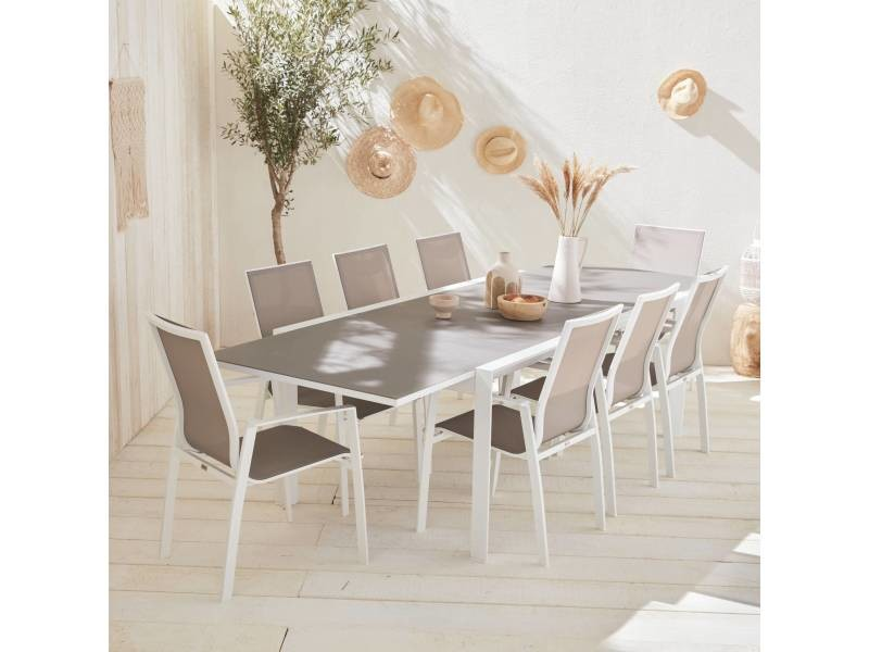 Salon de jardin table extensible - washington taupe - table ...