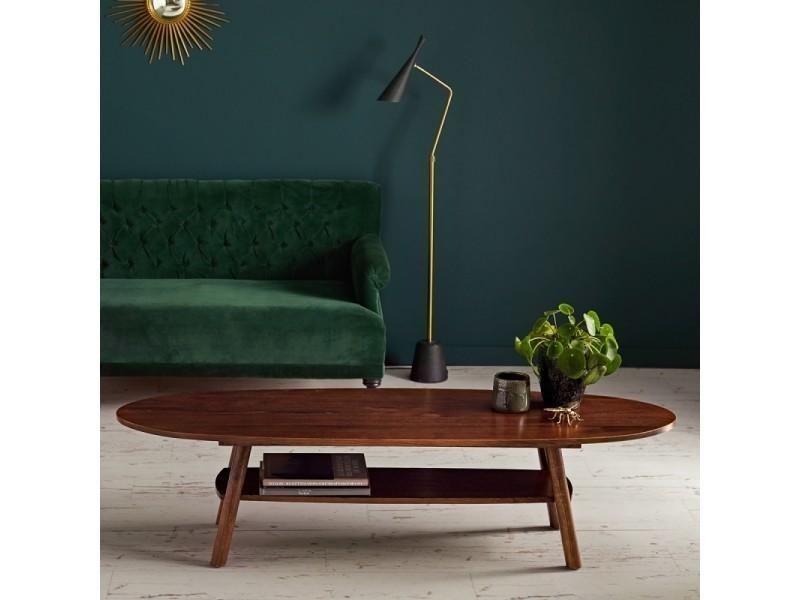 Table basse en bois finition noyer double plateau