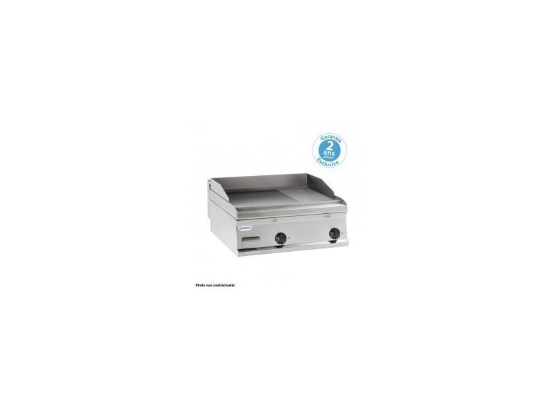 Plaque à snacker électrique - rainurée double - 695 x 564 mm - gamme 600 - tecnoinox - inox