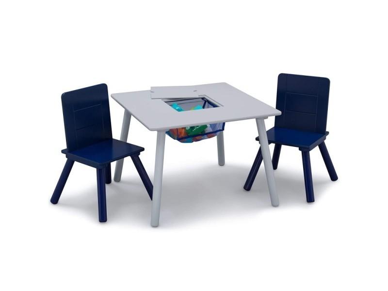 Table grise avec rangement et deux chaises navy signature delta children