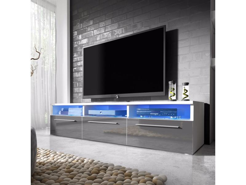 Meuble tv meuble salon lavello 140 cm blanc mat Meuble blanc salon