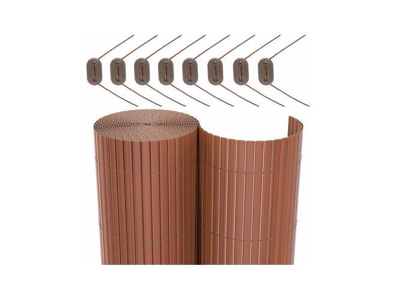 Songmics rouleau de canisse pvc clôture pvc pour jardin balcon terrasse brun, 100 x 500cm gpf3105b Rouleau de Canisse PVC,100 x 500cm