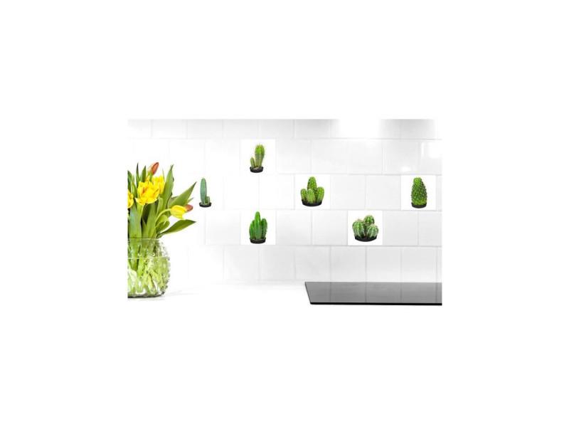 Sticker déco carrelage cactus vinyle 15x15 cm vert - Vente de PLAGE DES DEMOISELLES - Conforama