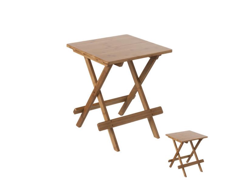 Duo de tables pliantes en bambou - jasmine - l 40 x l 40 x h 48 - neuf