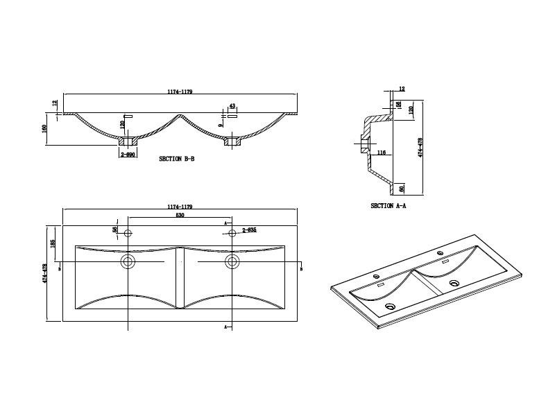 Meuble Salle De Bain Design Double Vasque Siena Largeur 120