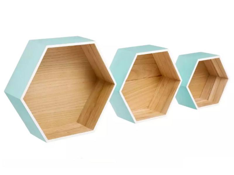 Lot de 3 étagères murales en bois de paulownia coloris bleu clair -pegane