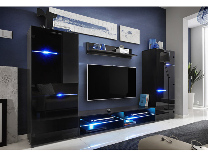 Ensemble tv turfu noir avec led rgb 280 cm pour tv et box
