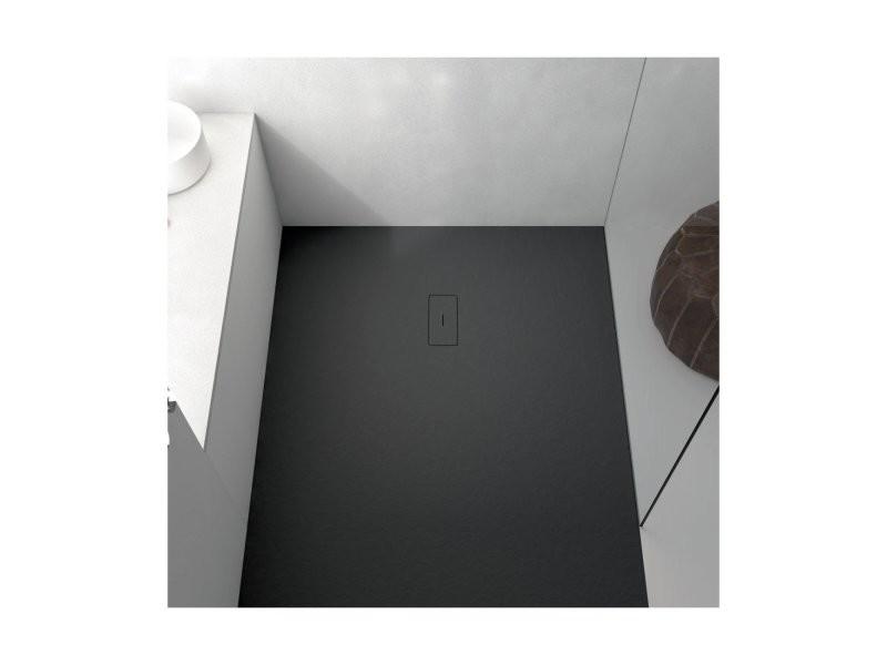 Receveur de douche 70 x 100 cm extra plat fusion en résine surface ardoisée noir 1801_0