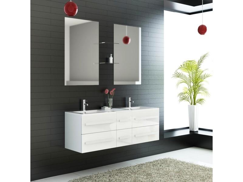 Ensemble complet meuble salle de bain eval 2 vasques 2 miroirs ...