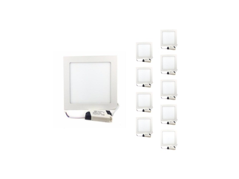 Spot led encastrable carré blanc 18w (pack de 10) - blanc chaud 2300k - 3500k - silamp
