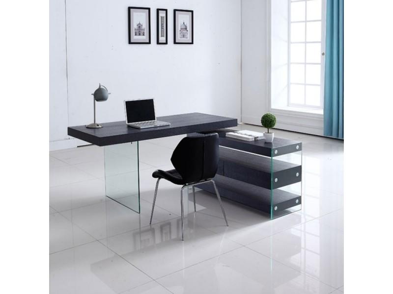 Bureau design en verre avec retour et caisson dixon - wengé
