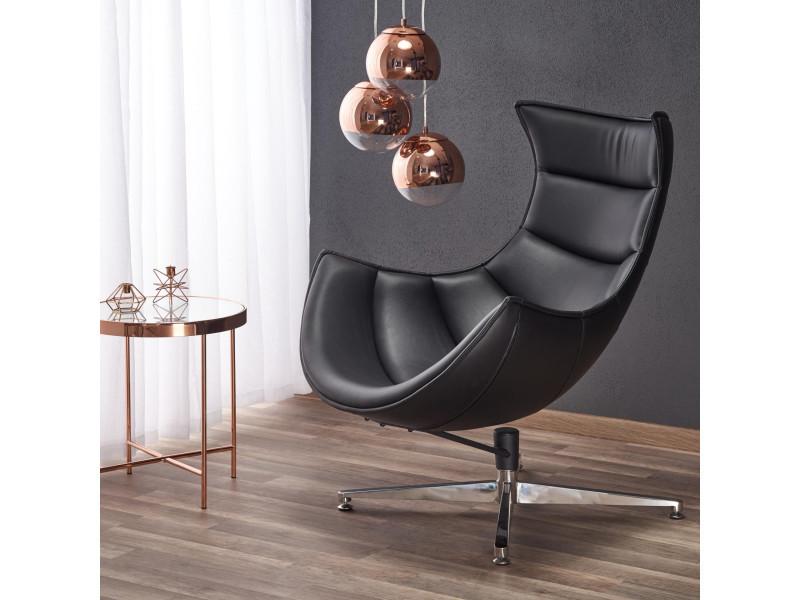 Fauteuil design en cuir reconstitué– noir