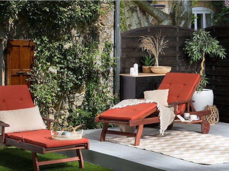 Transat inclinable en bois / coussin rouge toscana 262709