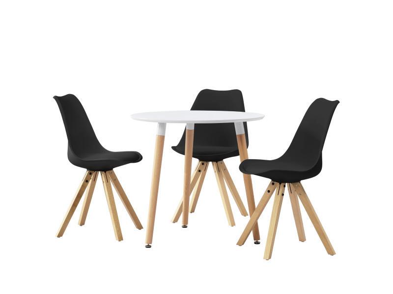 Table ronde avec le design rétro blanc - noir