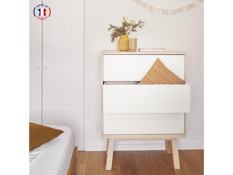Commode 3 grands tiroirs en frêne 90x46 cm blanc balisson - 100% fabrication française