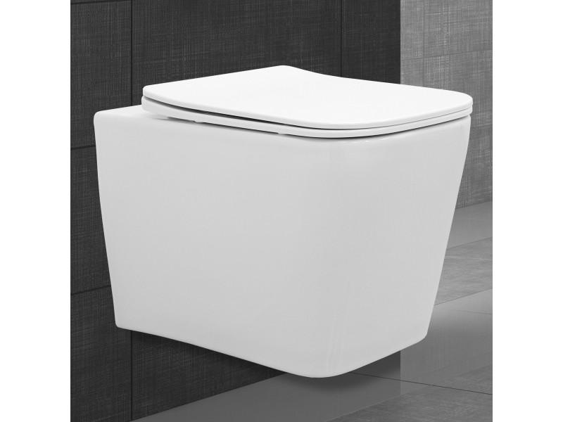 Chasse d'eau carrée sans rebord blanc 550 x 360 x 310 mm 390000008